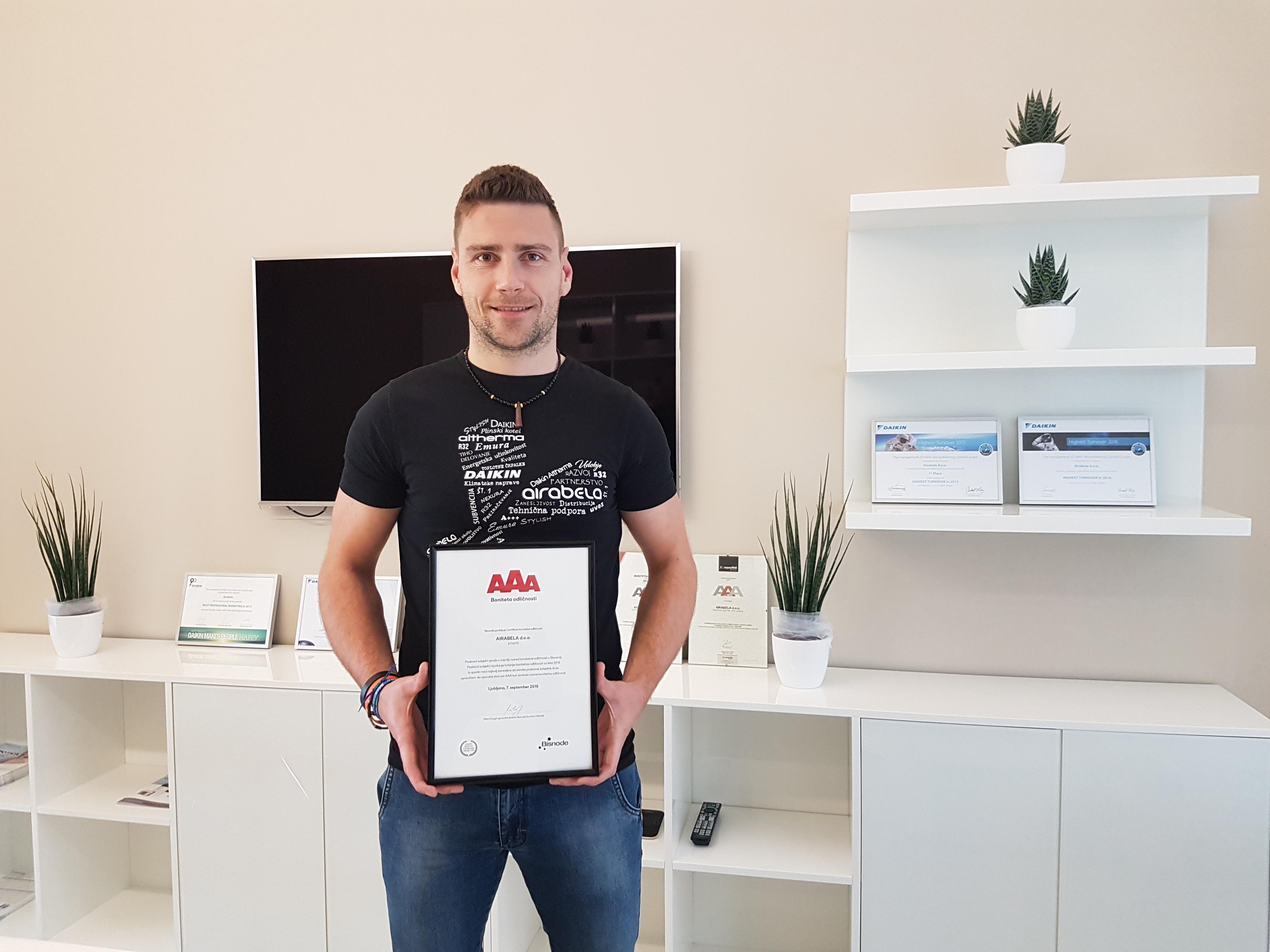 Prejeli smo AAA certifikat odličnosti